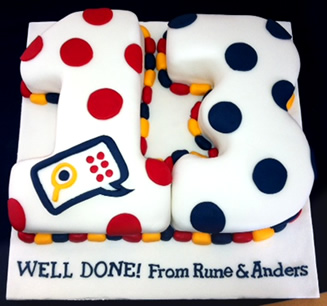 An Image of the cake with a big 13 that says 'Well done! From Rune & Anders'