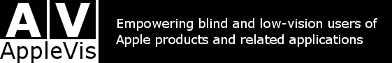 AppleVis logo. Text: Empowering blind and low-vision users of Apple products and related applications