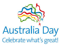 Shape of Australia in multi coloured streamers with the words Australia Day Celebrate What's Great!