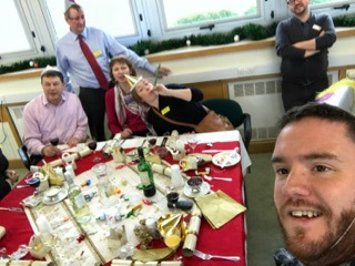 Colin taking a selfie of him and the Blind Veterans IT team ata Christmas meal