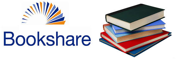 Bookshare logo to the left of a pile of books