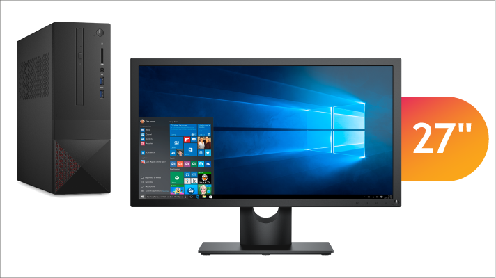 Desktop PC with 27 inch monitor