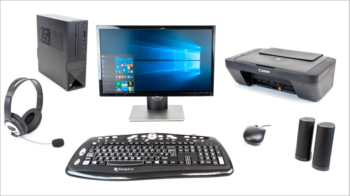 Base unit & monitor. Dolphin large print keyboard, USB headset, speakers and Scanner, printer & copier