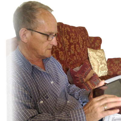 Photo of Reg using GuideReader Tablet