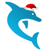 Dolphin logo wearing a red santa hat