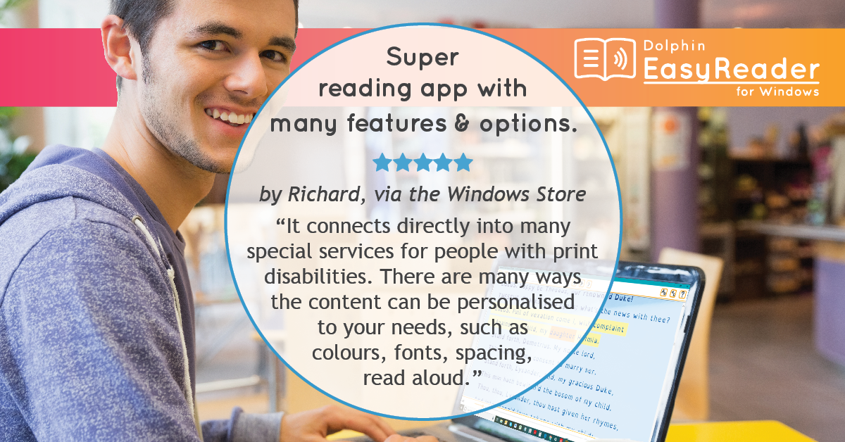t connects directly into many special services for people with print disabilities. There are many ways the content can be personalised to your needs such as colours, fonts, spacing, read aloud.