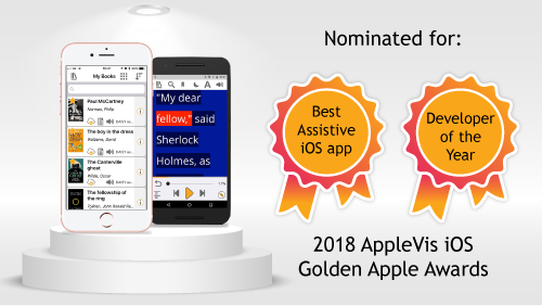 "Nominated for ""Best Assistive App"" and ""Developer of the Year"""