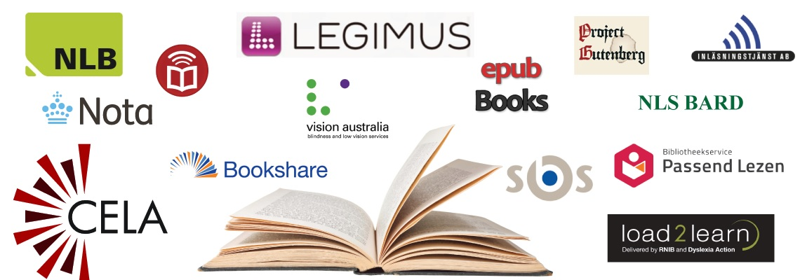 EasyReader Provides access to dozens of accessible libraries: Bookshare, NLS BARD, CELA, NLB, Nota, Legimus and more