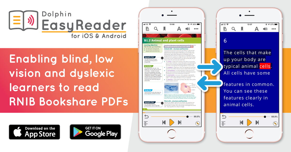 EasyReader is the easiest ways to read RNIB Bookshare PDFs
