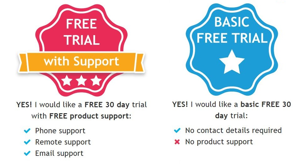 free trial download information - with or without support