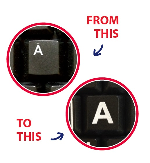 Image of the letter 'A' on standard keyboard compared directly with the same letter on the Dolphin keyboard.