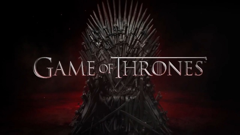Game of Thrones logo with image of the iron throne
