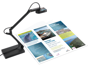 A document camera sits over a product brochure
