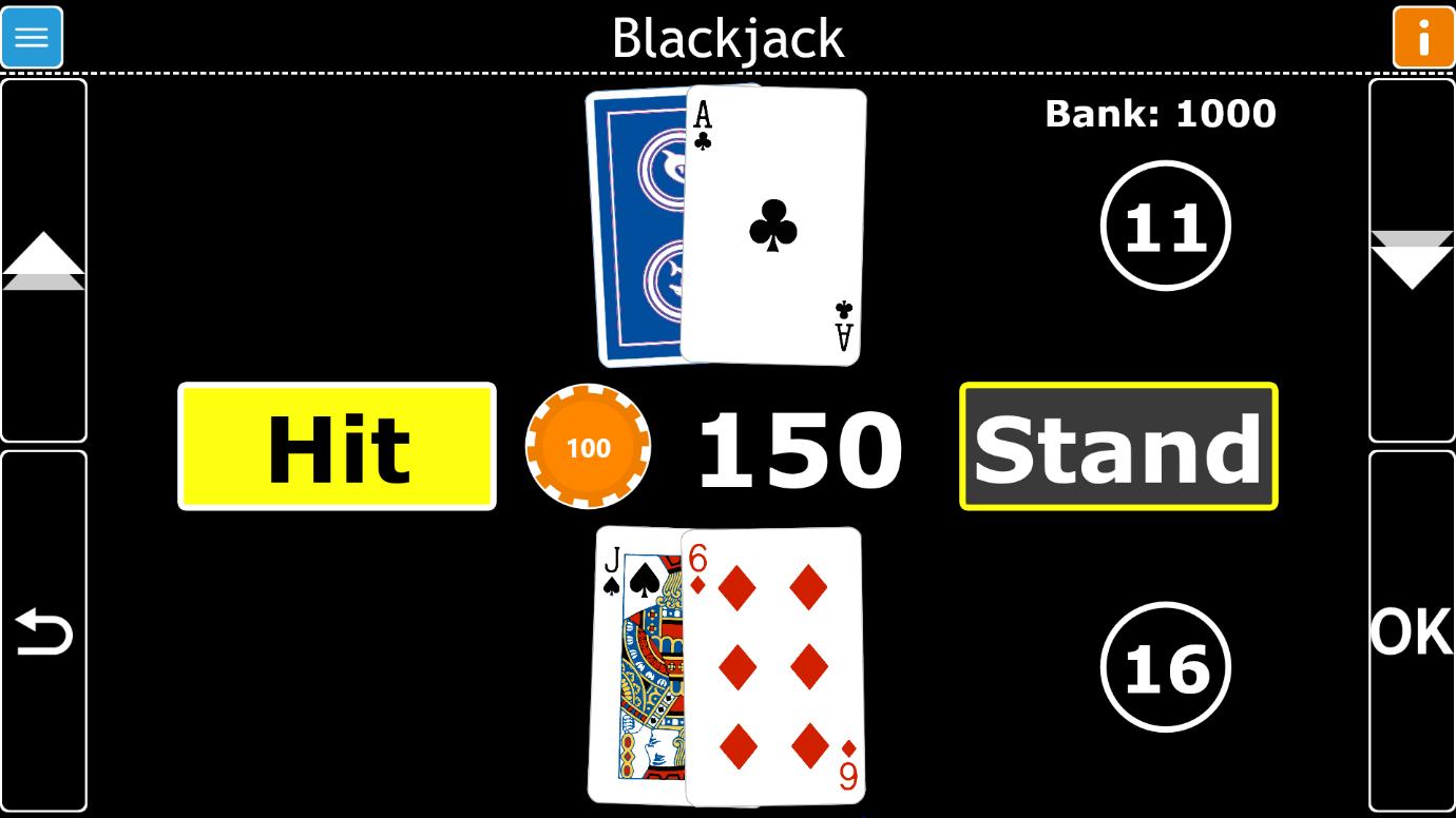 Image d'un jeu de blackjack joué dans GuideConnect