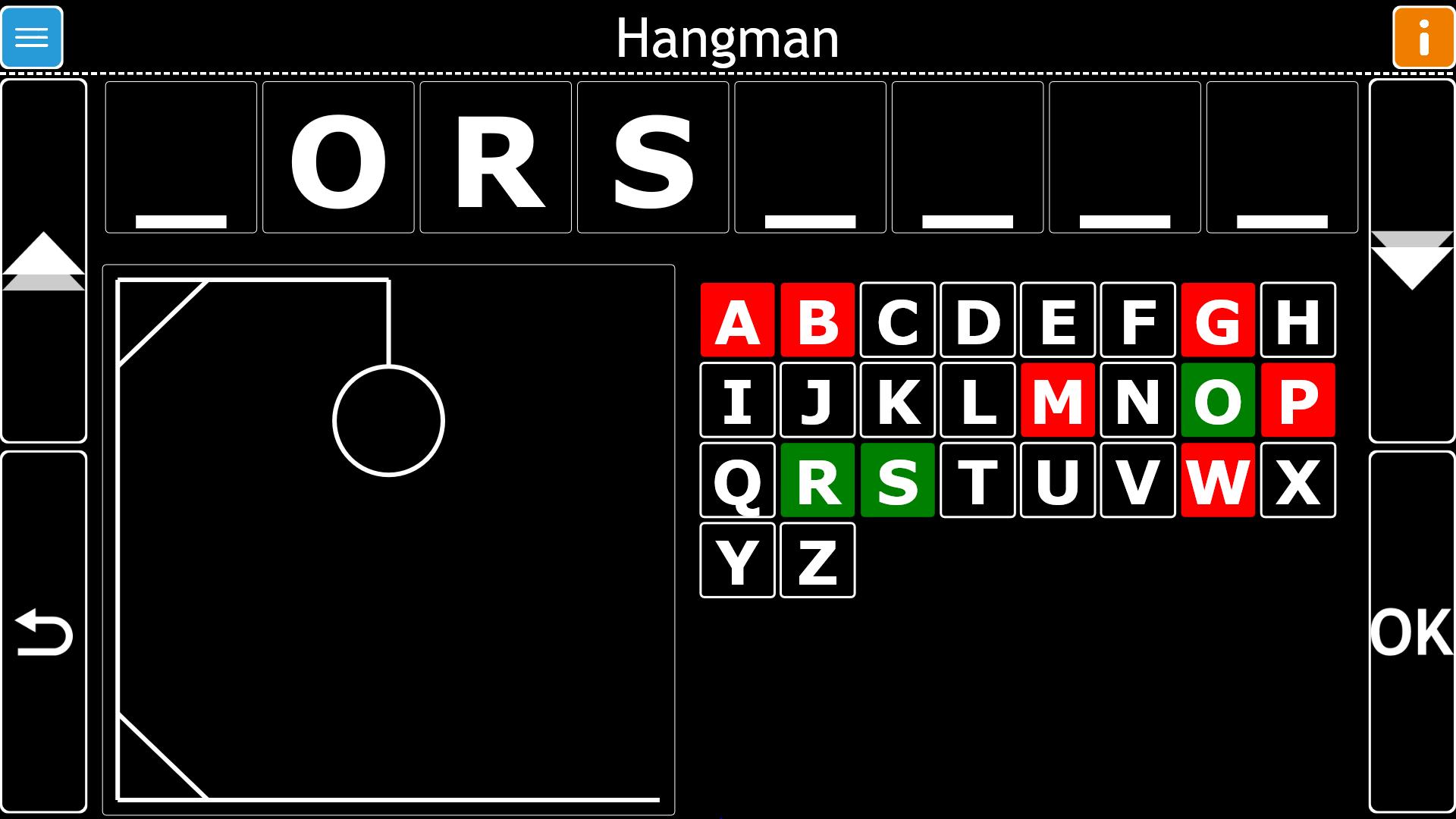 Image d'un jeu de Pendu joué dans GuideConnect
