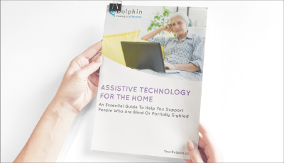 Female hands holding the assistive technology for the home guide.