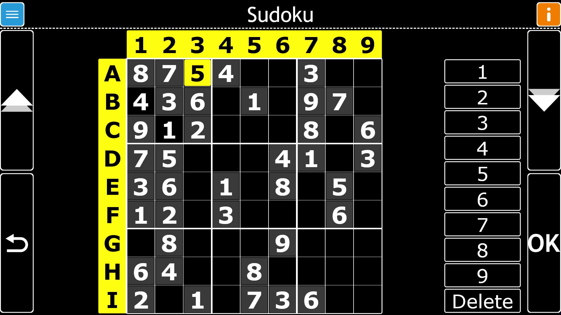 Image d'une partie de Sudoku jouée dans GuideConnect