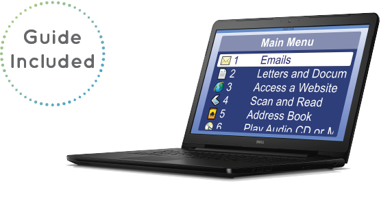 Image of Guide on a laptop, reads 'Guide included'