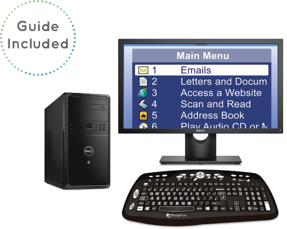 Image of Guide on a desktop PC, reads 'Guide included'