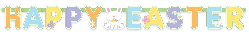 Banner spelling Happy Easter with cartoon bunny in the middle