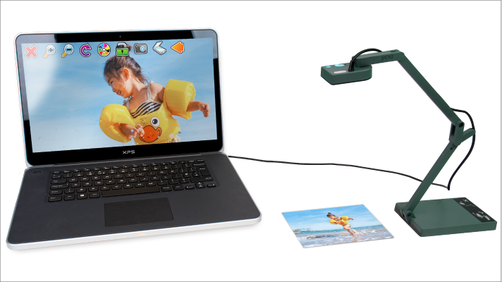 The IPEVO V4K Camera plugged into a laptop with a magnified image on the screen.