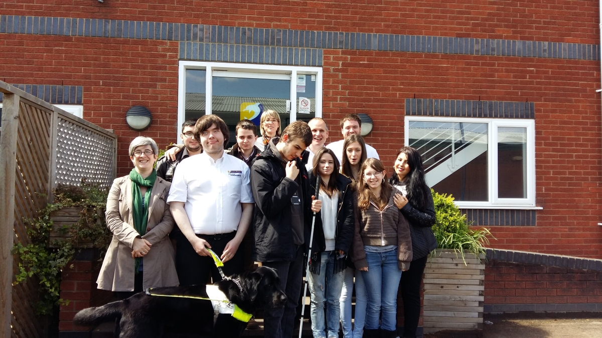 Staff and students from UK and France outside Dolphin HQ