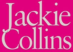 Jackie Collins white text on bright pink background