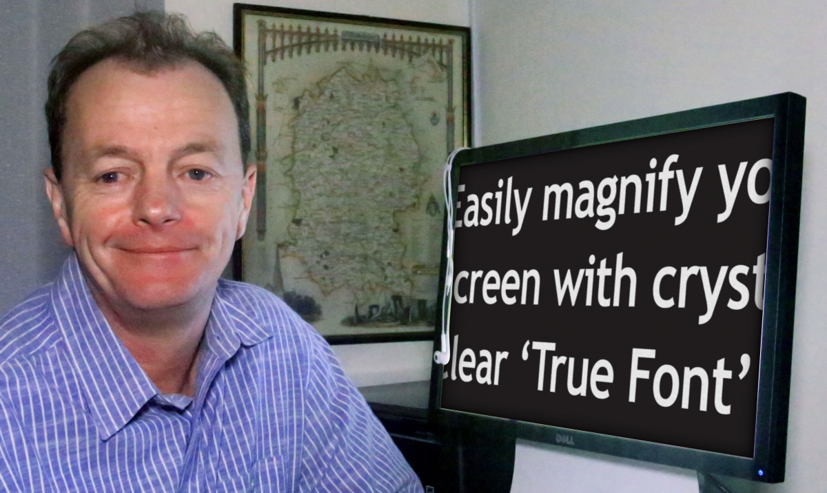 Headshot of Mark Abel next to a computer screen with magnified text