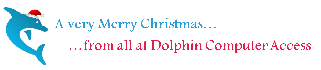 A very Merry Christmas from all at Dolphin Computer Access plus Dolphin logo with a santa hat