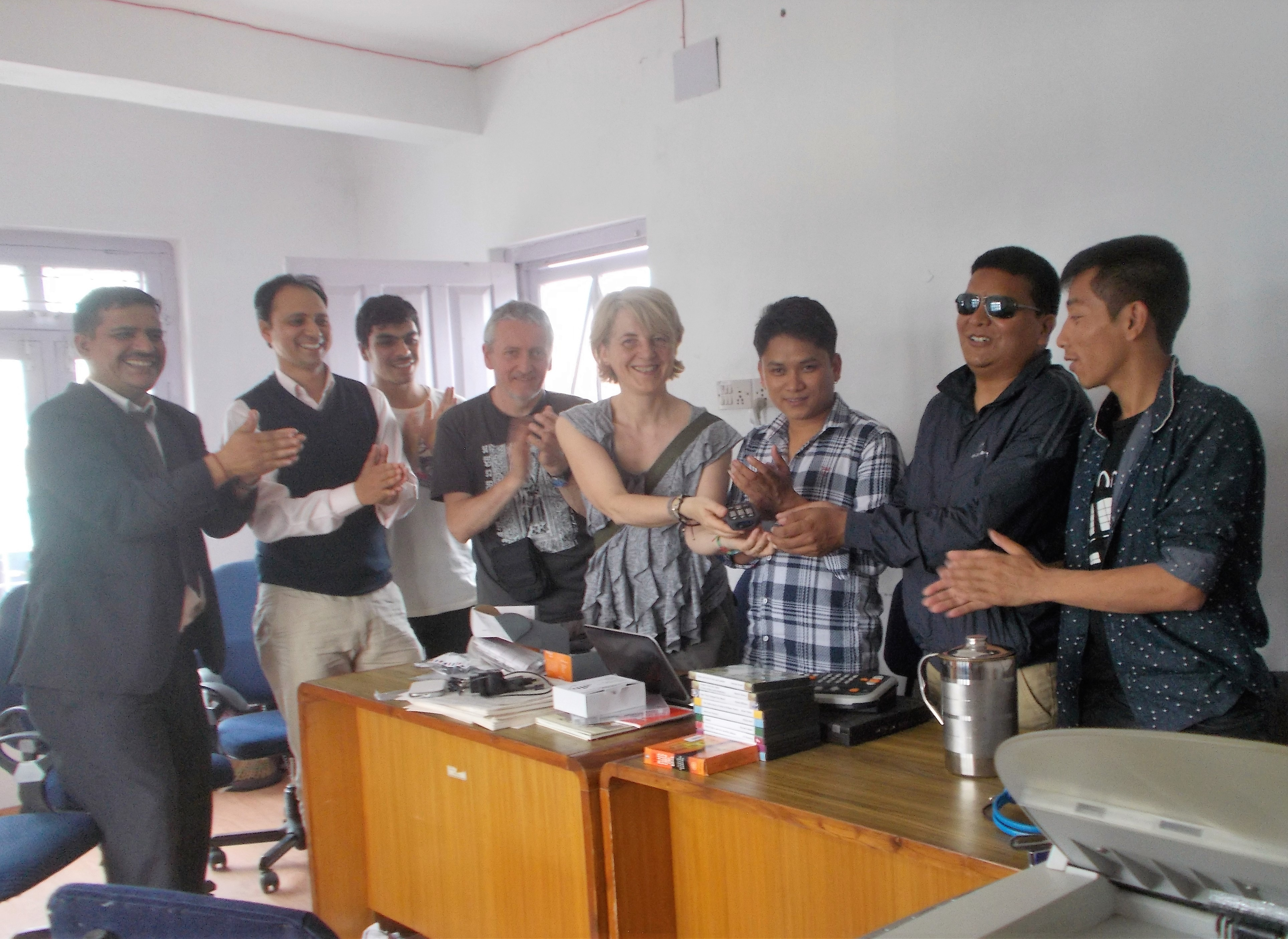 Andrea pictured with Nepalese students