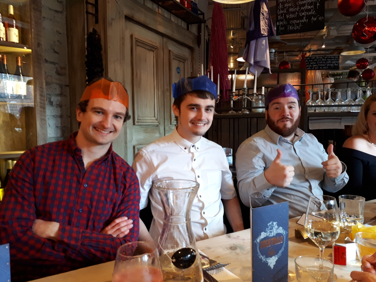 L-R Videographer Callum, IT apprentice Kyle and product test analyst Colin in their party hats!
