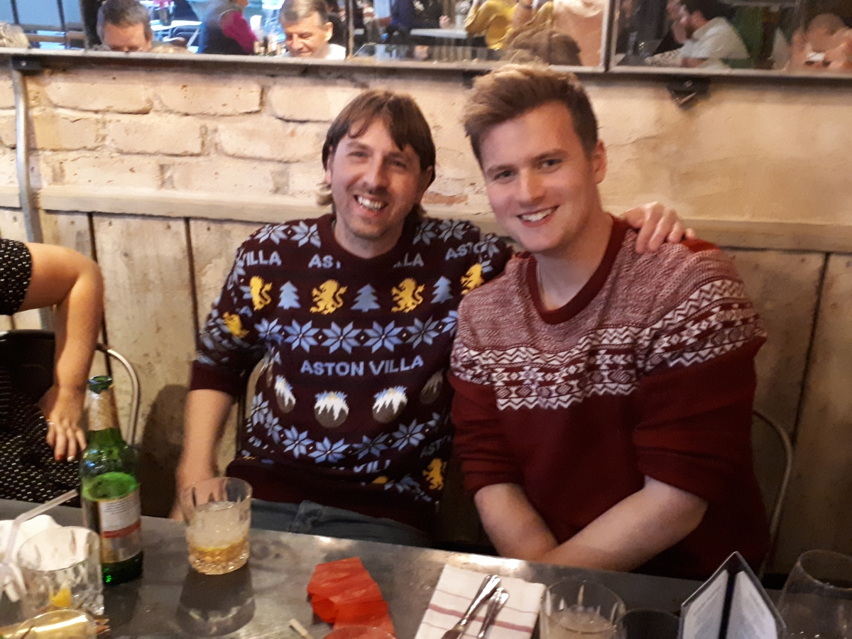 Stefan and Dominic in Christmas jumpers