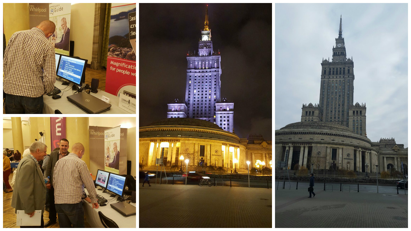 Collection of images showing Palace of Culture, and exhibition stand with Guide in Polish