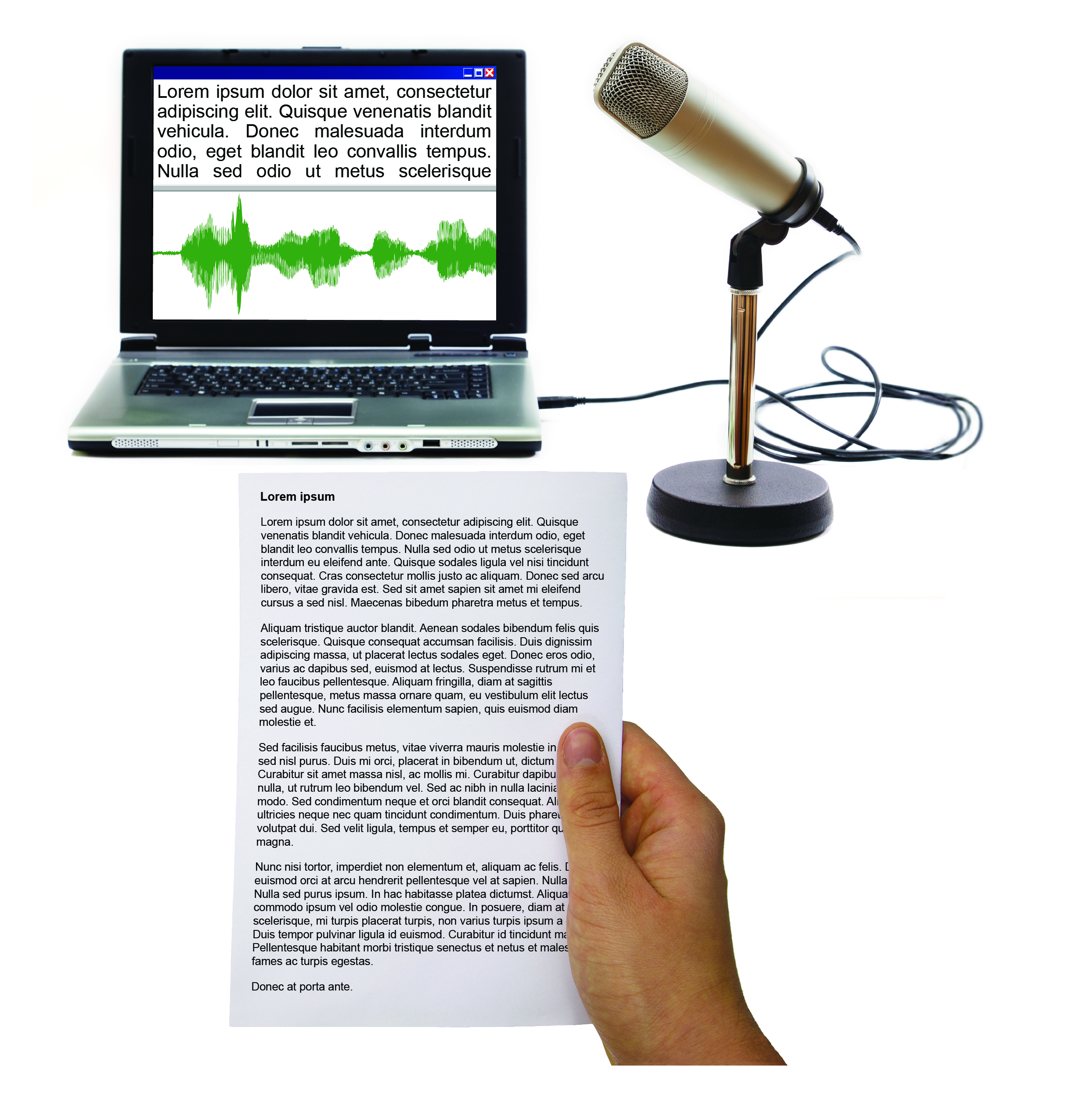 Dolphin Publisher with laptop screen, document and microphone