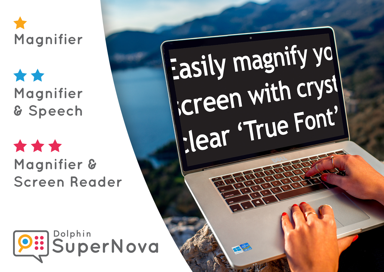 SuperNova logos and a laptop with magnified text on screen