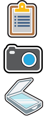 Clipboard, camera and scanner icons