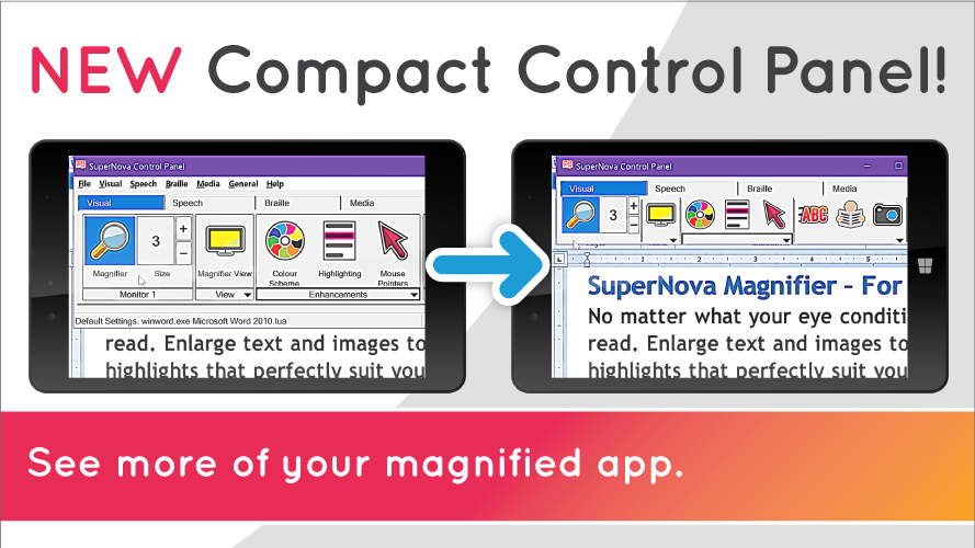 New Compact Control Panel! See more of you magnified app. Image shows comparison of the Control Panel and the Compact Control Panel.