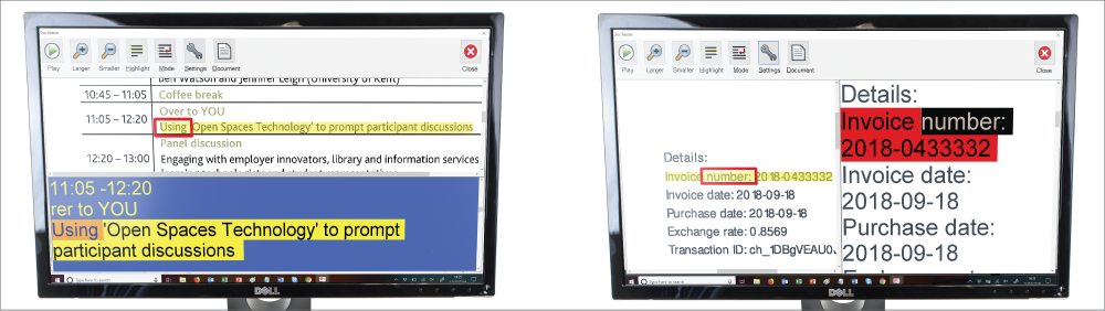 The Split screen view in Doc Reader allows you to see your original scanned document or PDF and the Doc Reader View.