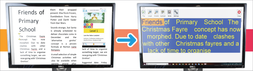 The left screen shows a word document magnified. The right screen shows the same document shown in Doc Reader.