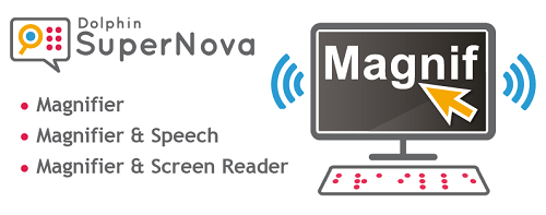 SuperNova family logo with text showing Magnifier, Magnifier & Speech & Magnifier & ScreenReader