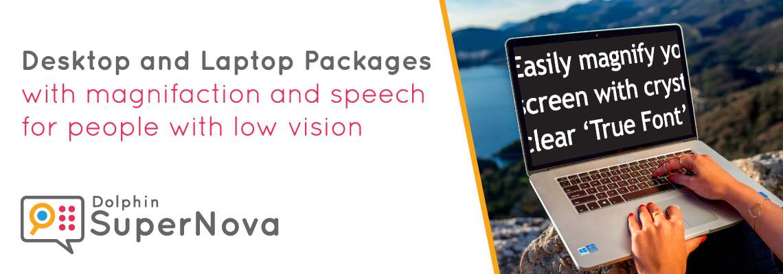 Desktop and laptop packages with magnification and speech for people with low vision