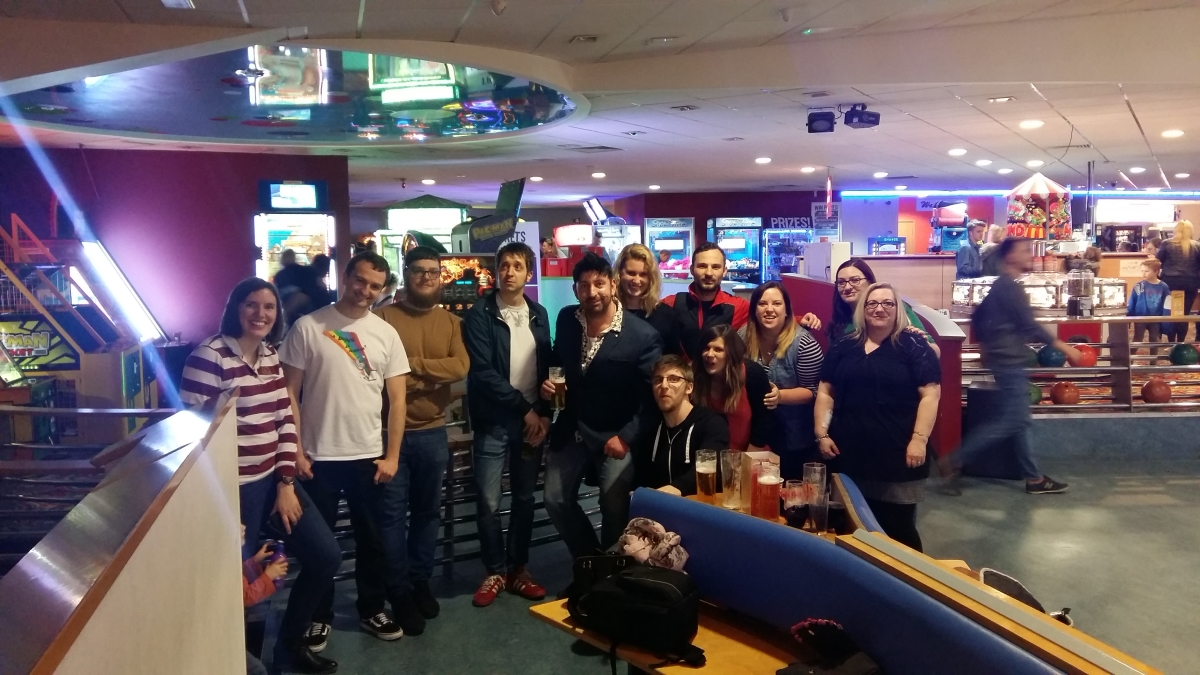 Team photo at the bowling alley