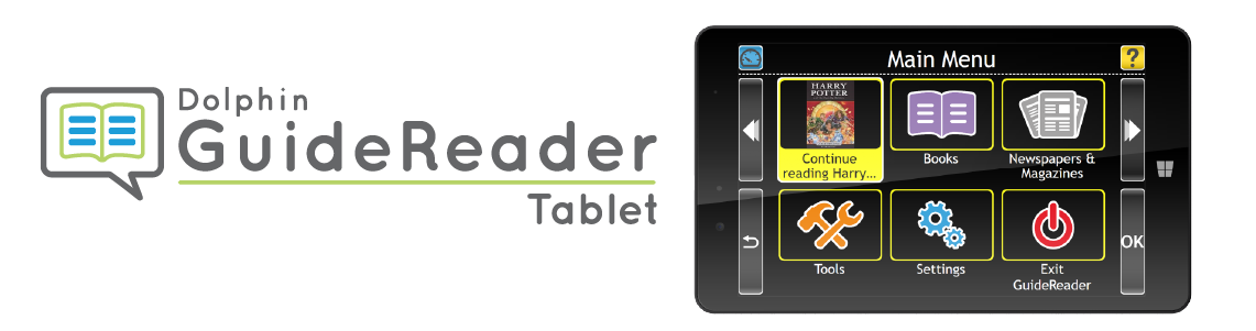 GuideReader tablet logo and image of device