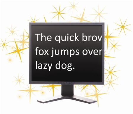 Image of a monitor displaying crystal clear magnified text using SuperNova's True Font technology