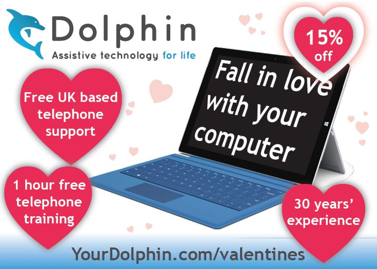"Laptop with the words ""Fall in love with your computer"" on the screen."