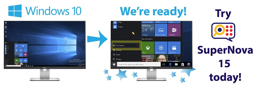 Windows 10 on screen on left and shown magnified on screen on right with SuperNova