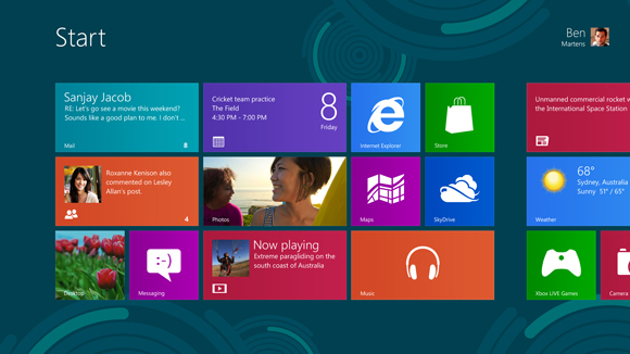 Screen shot of Windows 8