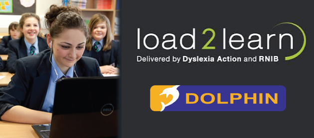 Image reads Load2Learn Dyslexia Action & RNIB