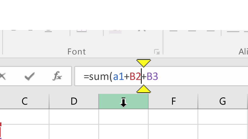 Cursor editing a forumla in an excel spreadsheet.  Above and below the cursor are 2 yellow triangles highlighting where the cursor is situated.