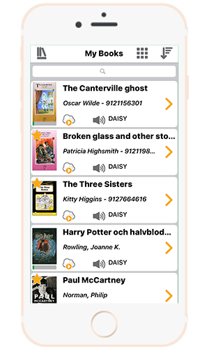 EasyReader on a iphone showing a variety of books in the My Books screen